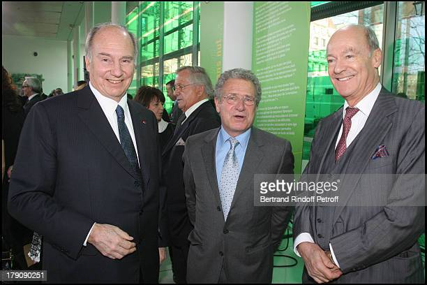 Prince Karim Aga Khan Laurent Dassault and Prince Amin Aga Khan at Pompidou Foundation Award Ceremony For The 'Chevalier de la Legion d'Honneur' To...