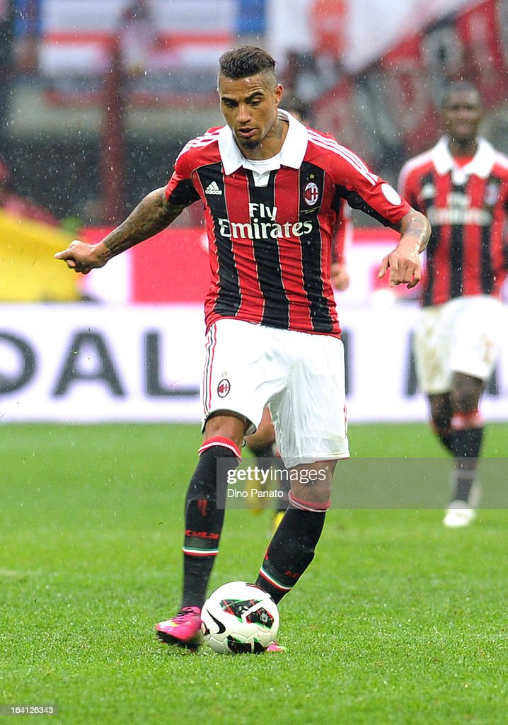 Prince Kevin Boateng of AC Milan in action during the Serie A match between AC Milan and US Citta di Palermo at San Siro Stadium on March 17, 2013 in Milan, Italy.
