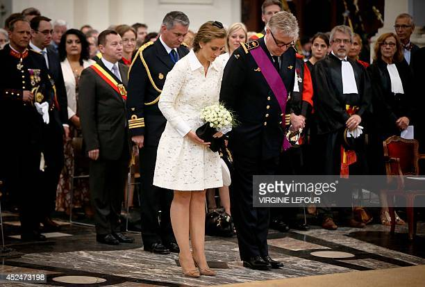 Prince Laurent and Princess Claire of Belgium attend the Te Deum mass on the occasion of today's Belgian National Day at the SaintAubain de Namur...