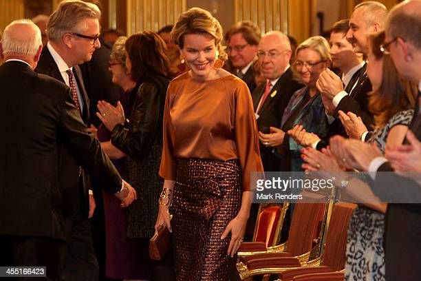 Prince Laurent and Queen Mathilde of Belgium celebrate Christmas at the Royal Palace on December 11 2013 in Brussel Belgium