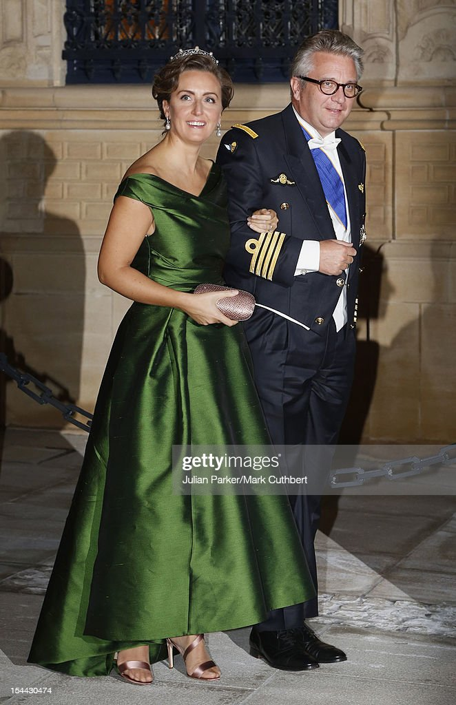 <a gi-track='captionPersonalityLinkClicked' href=/galleries/search?phrase=Prince+Laurent+of+Belgium&family=editorial&specificpeople=786930 ng-click='$event.stopPropagation()'>Prince Laurent of Belgium</a> and <a gi-track='captionPersonalityLinkClicked' href=/galleries/search?phrase=Princess+Claire+of+Belgium&family=editorial&specificpeople=215265 ng-click='$event.stopPropagation()'>Princess Claire of Belgium</a> attend the Gala dinner for the wedding of Prince Guillaume Of Luxembourg and Stephanie de Lannoy at the Grand-ducal Palace on October 19, 2012 in Luxembourg, Luxembourg. The 30-year-old hereditary Grand Duke of Luxembourg is the last hereditary Prince in Europe to get married, marrying his 28-year old Belgian Countess bride in a lavish 2-day ceremony.