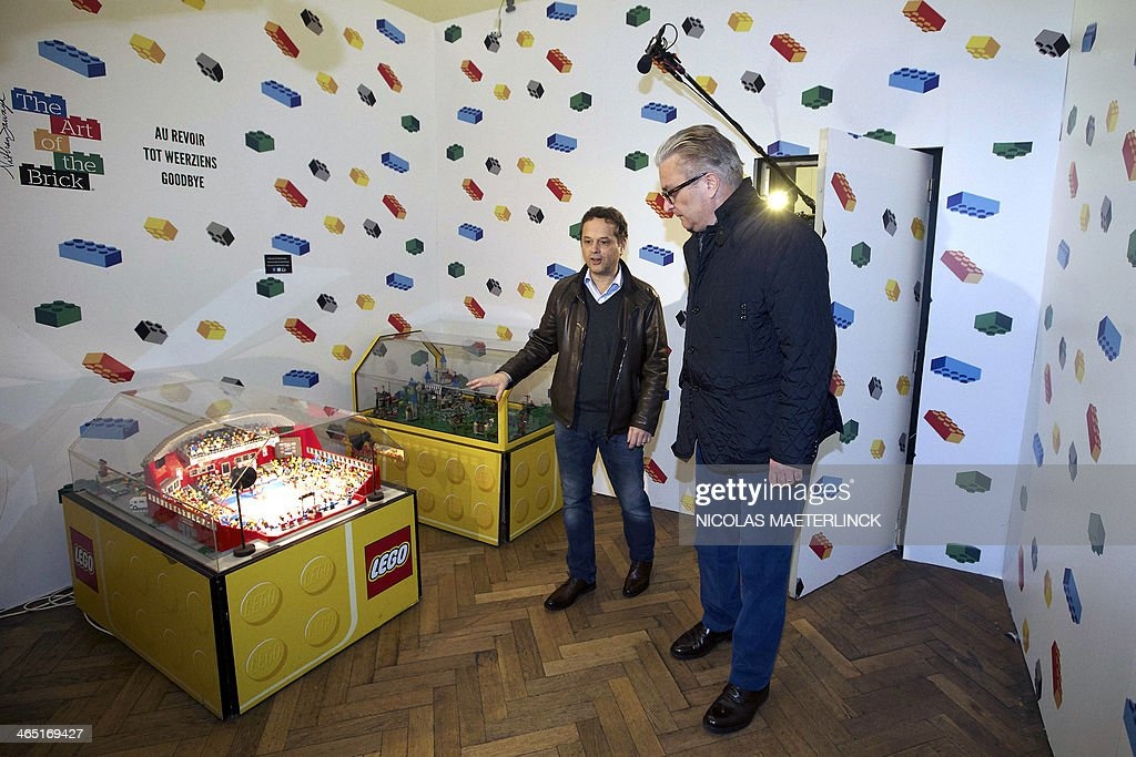 Prince Laurent (R) of Belgium visits the Lego exhibition 'The Art of the Brick' in Brussels on January 26, 2014.