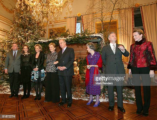 Prince Laurent Princess Claire Princess Astrid Queen Paola King Albert Queen Fabiola Prince Philippe and Princess Mathilde pose in front of a...