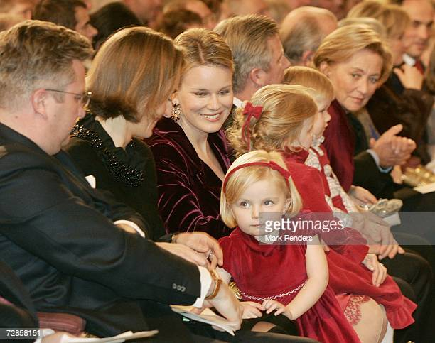 Prince Laurent Princess Claire Princess Mathilde Prince Philippe Queen Paola King Albert Queen Fabiola Princess Astrid and Prince Lorentz attend the...