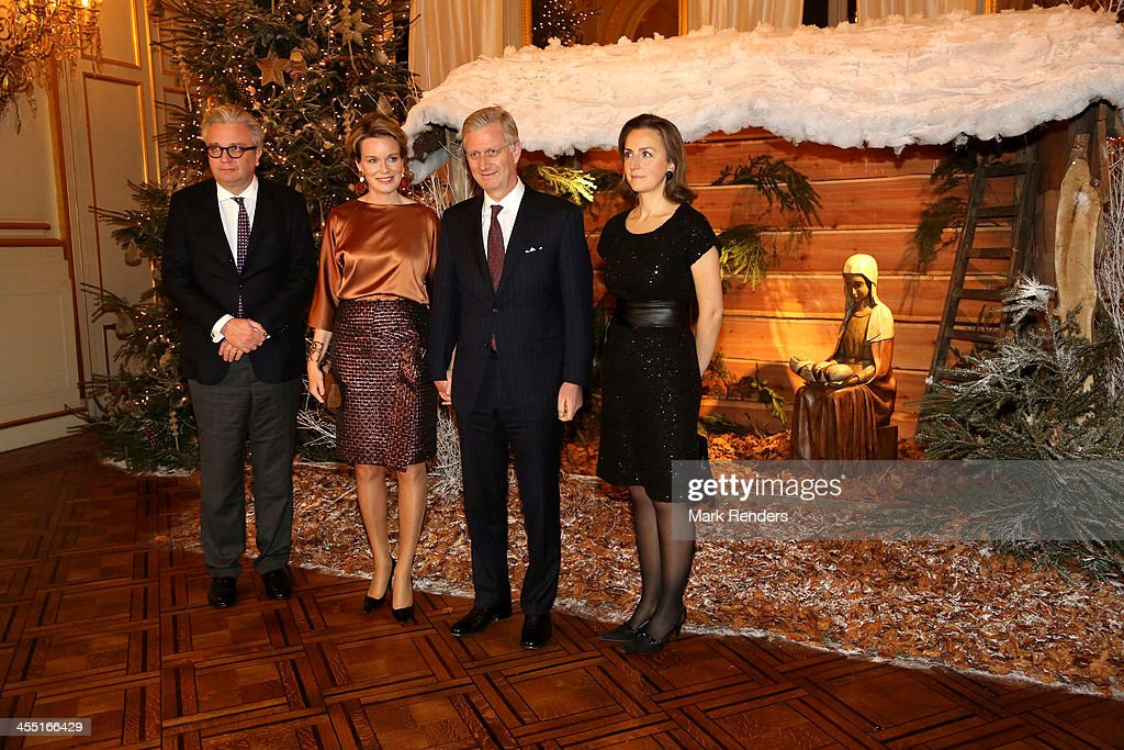 King Philippe Of Belgium And Queen Mathilde Of Belgium Celebrate Christmas At Royal Palace