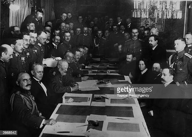 Prince Leopold of Bavaria Commander of the troops on the Eastern Frontier signing an armistice with the Russians at BrestLitovsk in WW I The...