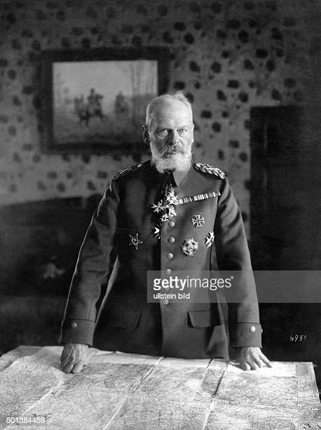 Prince Leopold of Bavaria German Field Marshal in World War I Supreme Commander of All German Forces in the East since 1916 in his office with a map...