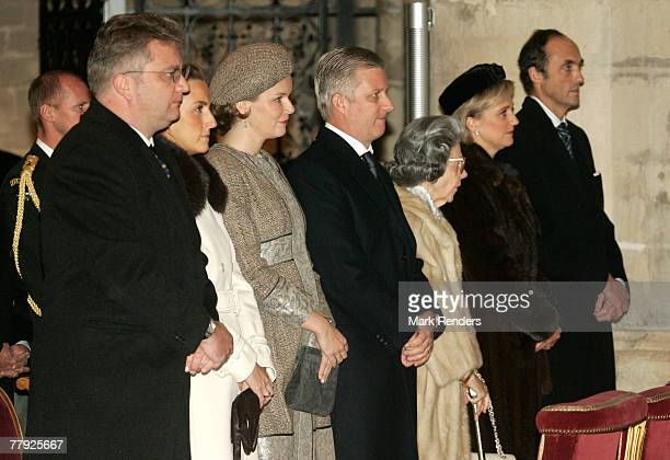 Prince Lorent Princess Claire Princess Mathilde Prince Philippe Queen Fabiola Princess Astrid and Prince Lorentz of Belgium attend the Te Deum at the...