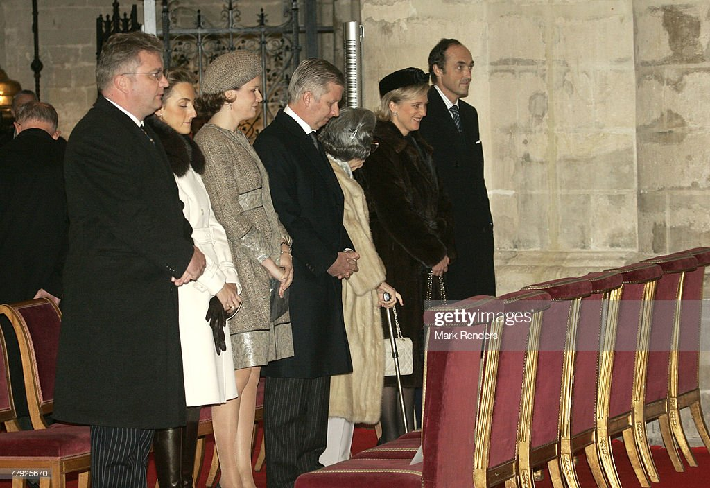 Prince Lorent, Princess Claire, Princess Mathilde, Prince Philippe, Queen Fabiola, Princess Astrid and Prince Lorentz of Belgium attend the Te Deum at the Cathedrale St. G?dule , on Kings Day on November 15, 2007 in Brussels, Belgium.