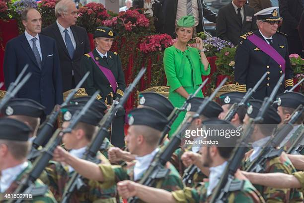 Prince Lorentz Princess Astrid Princess Claire and Prince Laurent of Belgium during the Parade on National Day on July 21 2015 in Brussel Belgium