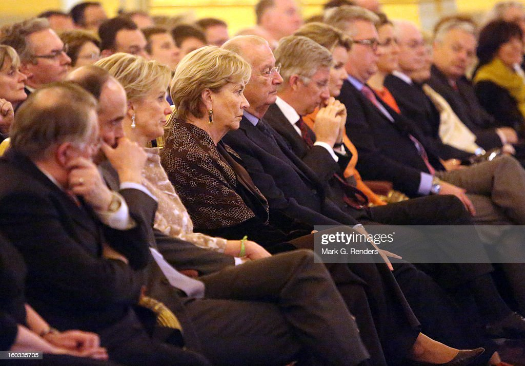 Prince Lorentz, Princess Astrid, Queen Paola, King Albert, Prince Philippe, Princess Mathilde, Prince Laurent and Princess Claire of Belgium attend a New Year Reception for Country Officials at the Royal Palace on January 29, 2013 in Brussels, Belgium.