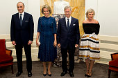 Prince Lorenz of Belgium Queen Mathilde of Belgium King Philippe of Belgium and Princess Astrid of Belgium pose before a concert by the Belgian...