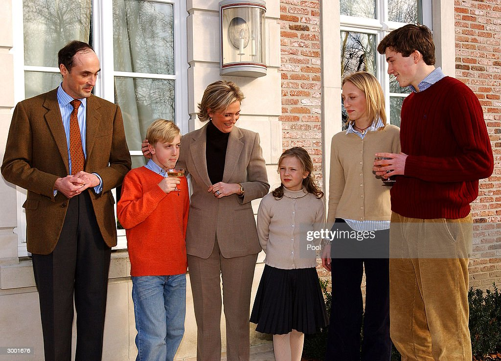 Prince Lorenz, Prince Joachim, Princess Astrid, Princess Louisa-Maria and Prince Amedeo attend a photocall to celebrate Prince Amedeo's 18th birthday on February 20, 2004 in Brussels, Belgium.
