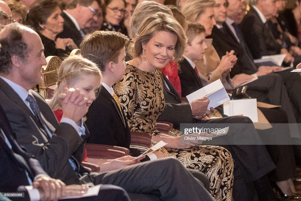 Prince Lorenz, Princess Eleonore, Prince Gabriel, Queen Mathilde of Belgium, King Philip of Belgium, Prince Emmanuel and Princes Astrid attend the Christmas Concert at the Royal Palace on December 21, 2016 in Brussels, Belgium.