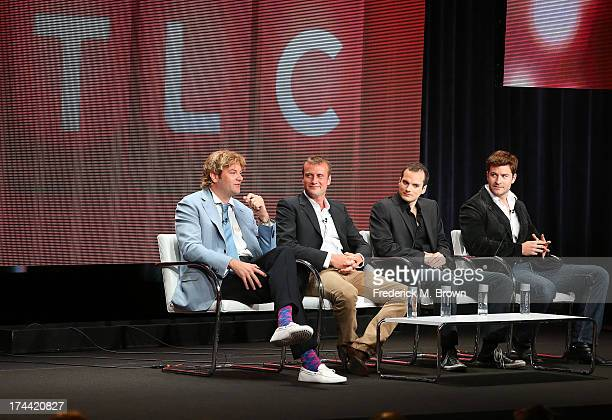 Prince Lorenzo de'' Medici Prince Alexander Romanoff The honorable Oliver Plunkett and Lord Robert Walters speak onstage at the 'Secret Princes'...