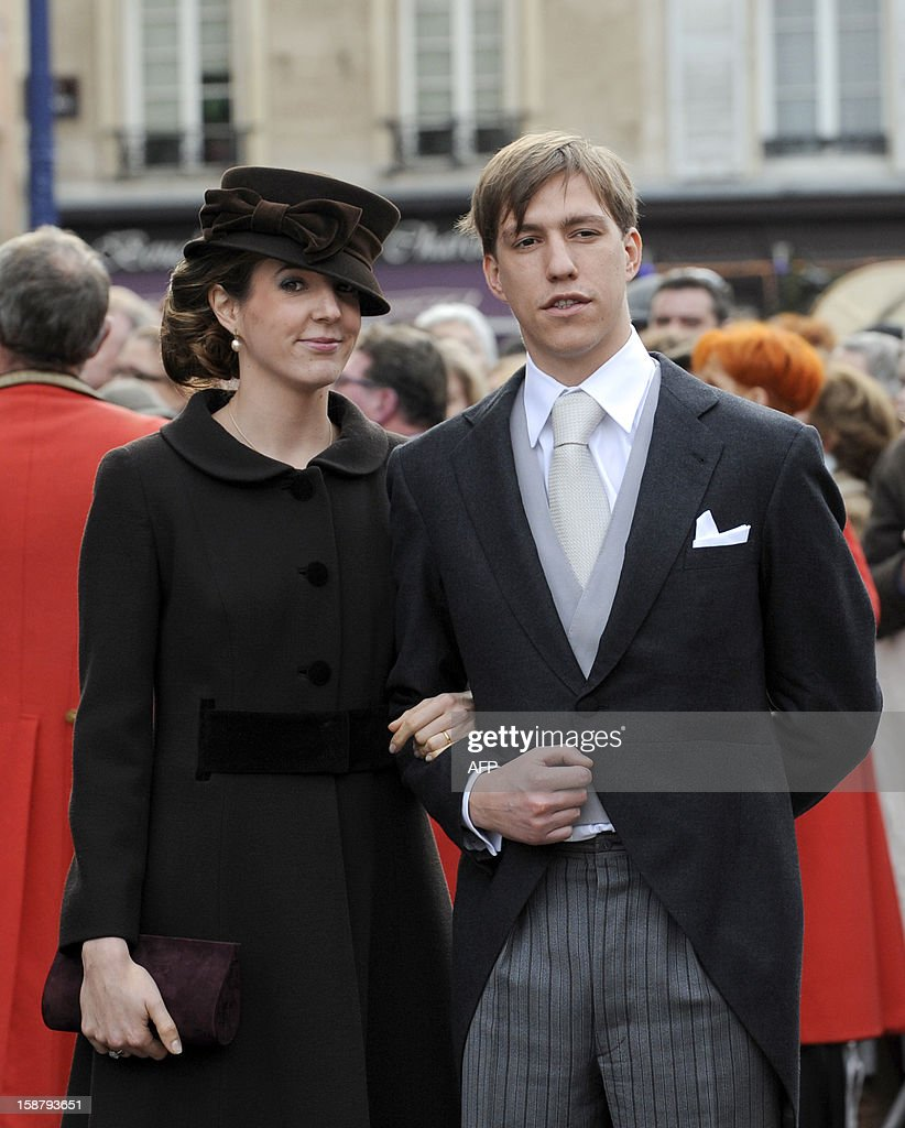 Prince Louis and Princess Tessy of Luxembourg leave the Saint Epvre Basilica after the wedding of Archduke of Austria Christoph of Habsbourg-Lorraine and Archduchess Adelaide Drape-Frisch, on December 29, 2012, in Nancy.