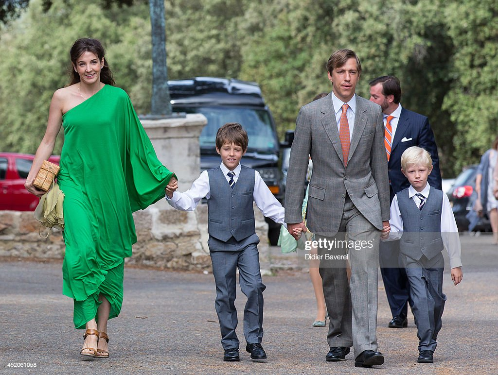 Prince Louis and <a gi-track='captionPersonalityLinkClicked' href=/galleries/search?phrase=Princess+Tessy+of+Luxembourg&family=editorial&specificpeople=7064107 ng-click='$event.stopPropagation()'>Princess Tessy of Luxembourg</a> with their children pose after the Christening ceremony of Princess Amalia at the Saint Ferreol Chapel in Lorgues on July 12, 2014 in Lorgues, France.