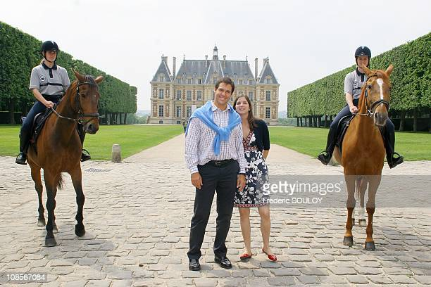 Prince Louis of Bourbon Duke of Anjou and Princess Marie Marguerite Duchess of Anjou at the Chateau de Sceaux in Paris France on June 04 2007