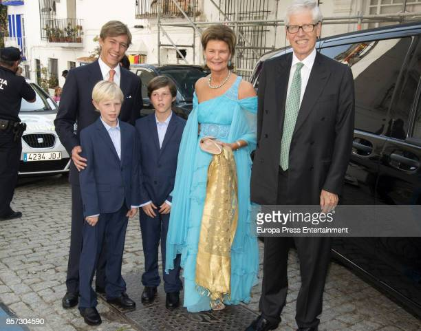 Prince Louis of Luxembourg and his sons Gabriel of Luxembourg and Noah of Luxembourg are seen attending the wedding of MarieGabrielle of Nassau and...