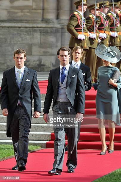 Prince Louis of Luxembourg and Princess Tessy of Luxembourg Prince Sebastien of Luxembourg and Prince Felix of Luxembourg attend the wedding ceremony...
