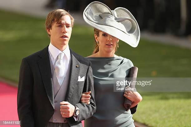 Prince Louis of Luxembourg and Princess Tessy of Luxembourgattends the wedding ceremony of Prince Guillaume Of Luxembourg and Princess Stephanie of...