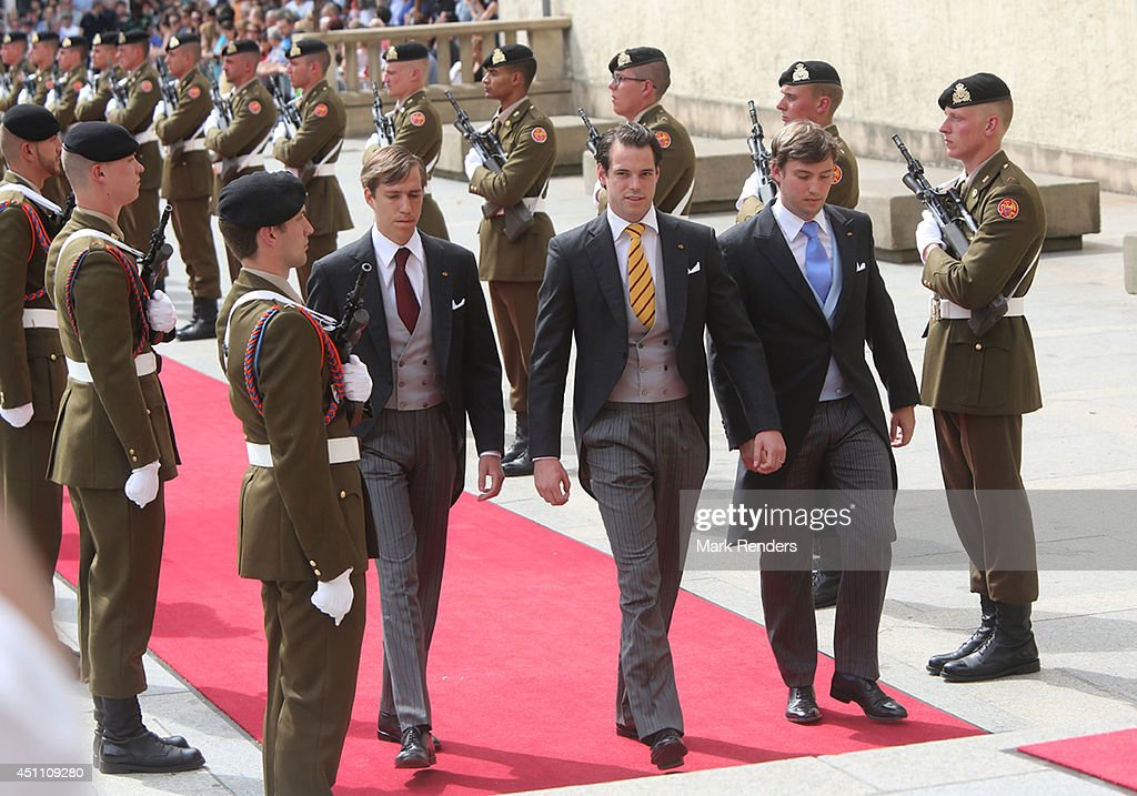 Prince Louis, Prince Felix and PrinceSebastien of Luxembourg attend the Te Deum for National Day on June 23, 2014 in Luxembourg, Luxembourg.