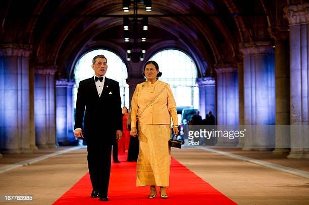 Prince Maha Vajiralongkorn and Princess Maha Chakri Sirindhorn of Thailand arrive to attend a dinner hosted by Queen Beatrix of The Netherlands ahead...