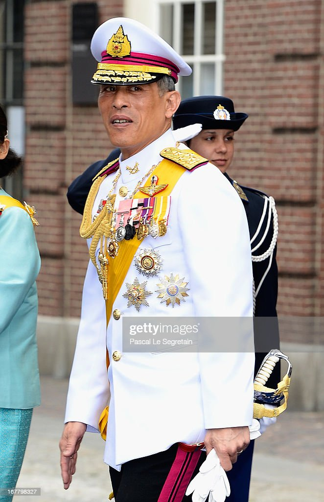 Prince <a gi-track='captionPersonalityLinkClicked' href=/galleries/search?phrase=Maha+Vajiralongkorn&family=editorial&specificpeople=584948 ng-click='$event.stopPropagation()'>Maha Vajiralongkorn</a> departs the Nieuwe Kerk to return to the Royal Palace after the abdication of Queen Beatrix of the Netherlands and the Inauguration of King Willem Alexander of the Netherlands on April 30, 2013 in Amsterdam, Netherlands.