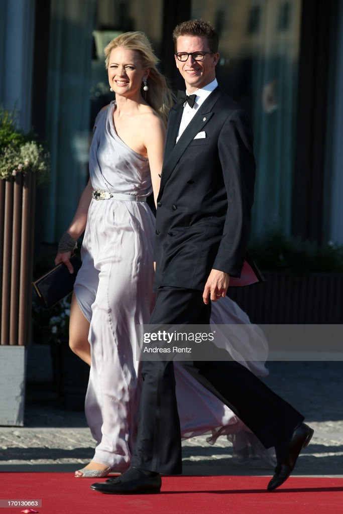 Prince Manuel of Bavaria and Princess Anna of Bavaria arrive at a private dinner on the eve of the wedding of Princess Madeleine and Christopher O'Neill hosted by King Carl Gustaf and Queen Silvia at The Grand Hotel on June 7, 2013 in Stockholm, Sweden.