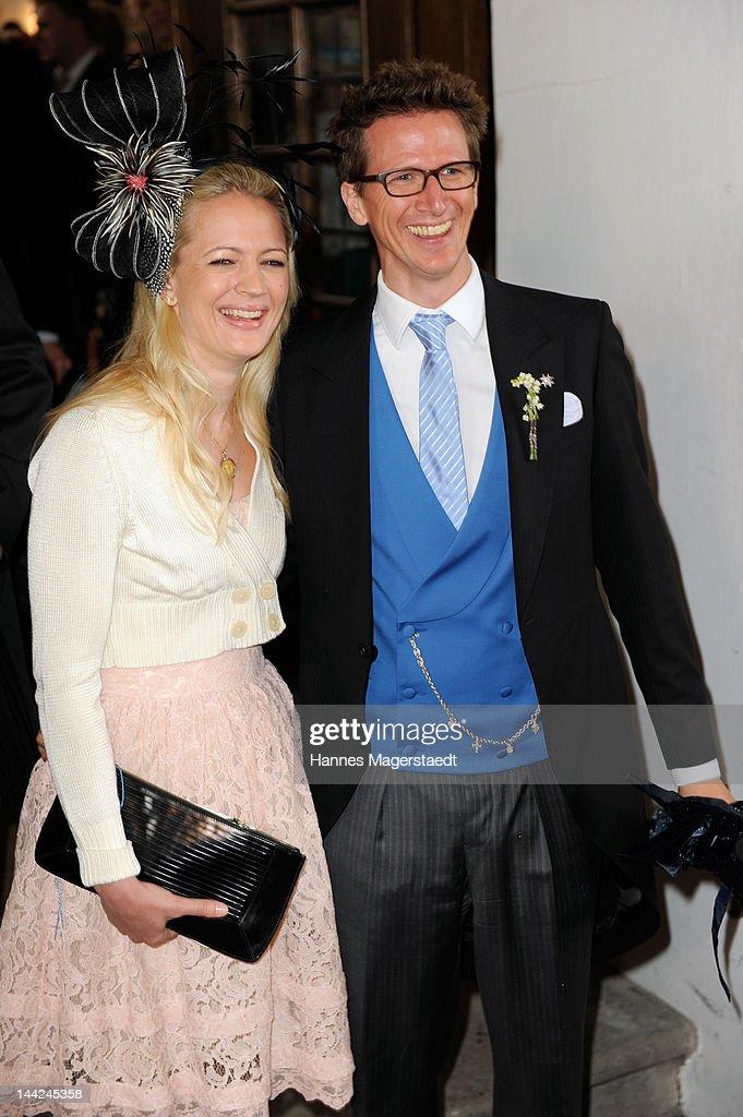 Prince Manuel von Bayern and Princess Anna von Bayern attend the wedding of Princess Felipa von Bayern and Christian Dienst at Wieskirche on May 12, 2012 in Steingaden, Germany.
