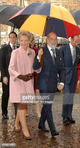 Prince Michael and Princess Michael of Kent arrive at Westminster Abbey London for a service of celebration to mark the diamond wedding anniversary...