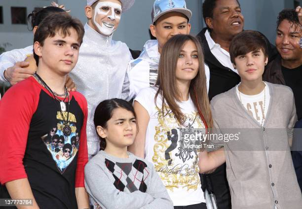 Prince Michael Blanket and Paris Jackson with Justin Bieber attend the Michael Jackson 'Immortalized' hand and footprint ceremony held at Grauman's...