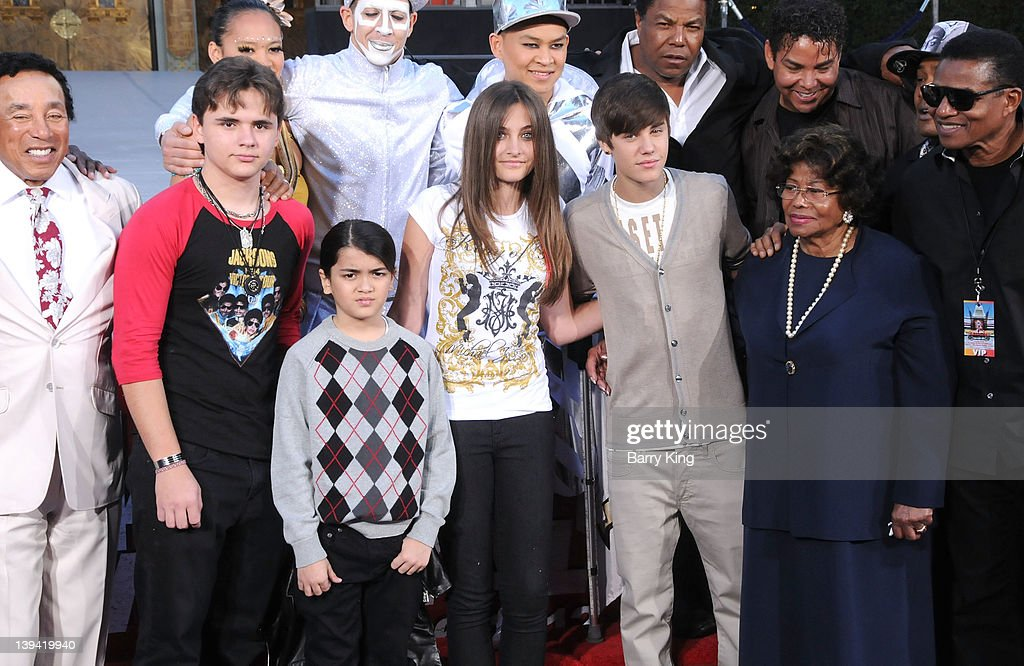 Prince Michael Jackson, Blanket Jackson, Paris Jackson, singer Justin Bieber and Katherine Jackson attend the Michael Jackson 'Immortalized' hand and footprint ceremony held at Grauman's Chinese Theatre on January 26, 2012 in Hollywood, California.