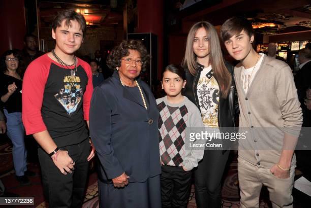 COVERAGE*** Prince Michael Jackson Katherine Jackson Blanket Jackson Paris Jackson and Justin Bieber attend the immortalization of Michael Jackson at...