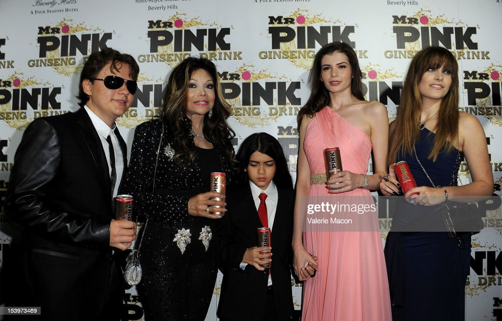 Prince Michael Jackson, <a gi-track='captionPersonalityLinkClicked' href=/galleries/search?phrase=LaToya+Jackson&family=editorial&specificpeople=208817 ng-click='$event.stopPropagation()'>LaToya Jackson</a>, Blanket Jackson, Monica Gabor and <a gi-track='captionPersonalityLinkClicked' href=/galleries/search?phrase=Paris+Jackson+-+Actress&family=editorial&specificpeople=2208441 ng-click='$event.stopPropagation()'>Paris Jackson</a> attend Mr. Pink Ginseng Drink Launch Party on October 11, 2012 in Beverly Hills, California.