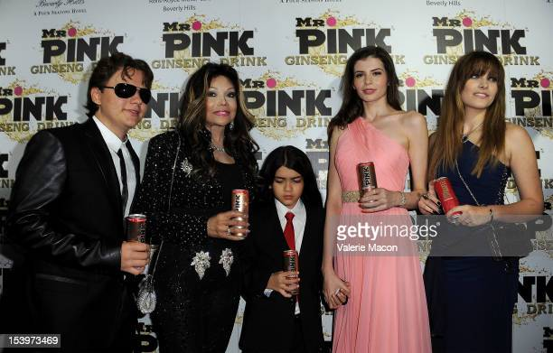 Prince Michael Jackson LaToya Jackson Blanket Jackson Monica Gabor and Paris Jackson attend Mr Pink Ginseng Drink Launch Party on October 11 2012 in...