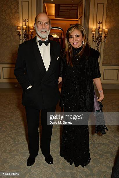Prince Michael of Kent and Alfiya Kuanysheva attend the after party for the Ave Maya Ballet Gala in memory of Maya Plisetskaya at The Savoy Hotel on...