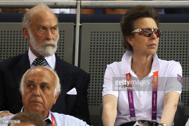 Prince Michael of Kent and Princess Anne Princess Royal watch the action during the track cycling on Day 7 of the London 2012 Olympic Games at...