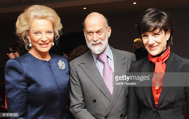 Prince Michael of Kent and Princess Michael of Kent pose with Harriet Walter at the arrivals for the premiere of 'From Time To Time' during the Times...