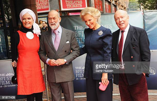 Prince Michael of Kent and Princess Michael of Kent pose with Director Julian Fellowes and wife Emma KitchenerFellowes at the arrivals for the...