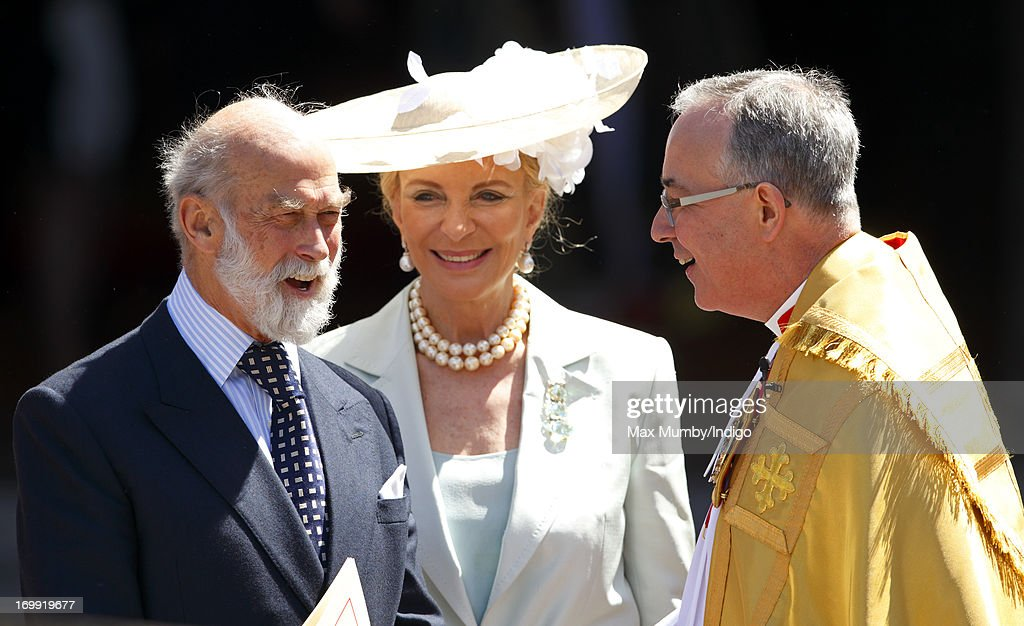 Prince Michael of Kent and Princess Michael of Kent talk with The Very Reverend Dr John Hall (Dean of Westminster) as they attend a service of celebration to mark the 60th anniversary of the Coronation of Queen Elizabeth II at Westminster Abbey on June 4, 2013 in London, England. The Queen's Coronation took place on June 2, 1953 after a period of mourning for her father King George VI, following her ascension to the throne on February 6, 1952. The event 60 years ago was the first time a coronation was televised for the public.