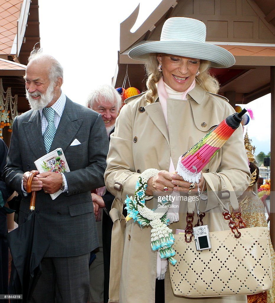 Prince Michael of Kent and Princess Michael of Kent visit a Thai floating market feature, at Hampton Court Palace Flower Show on July 7, 2008 in London, England. The annual Hampton Court Palace Flower Show will run from July 8 to July 13, 2008.