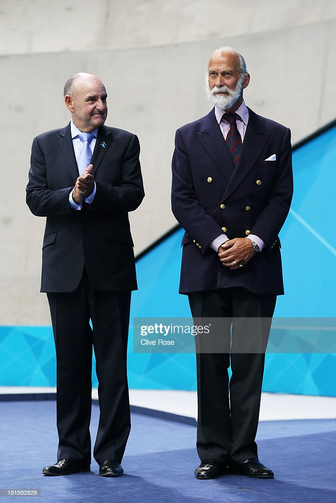 Prince Michael of Kent (R) and Sir Charles Allen CBE present medals on day 10 of the London 2012 Paralympic Games at Aquatics Centre on September 8, 2012 in London, England.