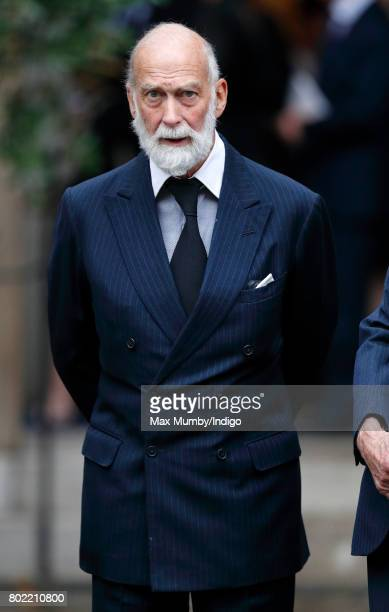 Prince Michael of Kent attends the funeral of Patricia Knatchbull Countess Mountbatten of Burma at St Paul's Church Knightsbridge on June 27 2017 in...