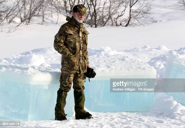Prince Michael of Kent CommodoreinChief of the Maritime Reserve as Royal Marine Reservists take part in the ice breaking drill during Exercise...