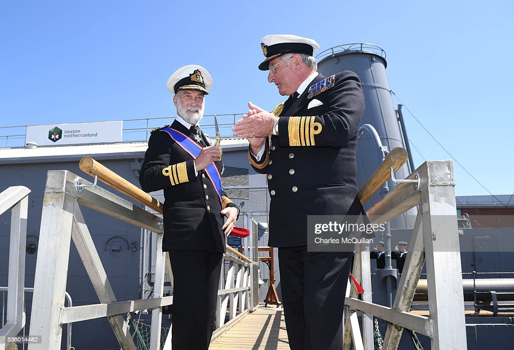 HRH Prince Michael of Kent (L) officially re-opens HMS Caroline on May 31, 2016 in Belfast, Northern Ireland. HMS Caroline is the last surviving ship from the 1916 Battle of Jutland and today hosted a special all island commemoration service ahead of it's reopening to the public tomorrow after a major restoration project. The Battle of Jutland is remembered as the largest and deadliest naval battle of World War One, where more than 6,000 British and more than 2,500 German personnel lost their lives in the 36-hour Battle off the coast of Denmark.