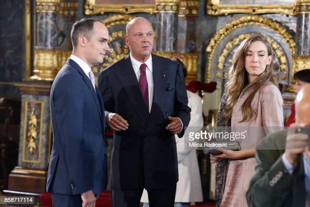 Prince Mihajlo Karadjordjevic Prince Sergius Karadjordjevic Princess Ljubica Karadjordjevic during wedding of Prince Philip of Serbia and Danica...