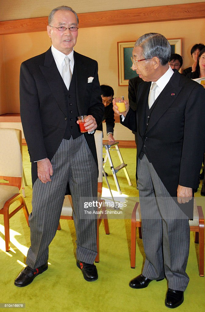 Prince Mikasa talks with former baseball player and Cultural merit laureate Shigeo Nagashima during the tea party hosted by Emperor and Empress at...