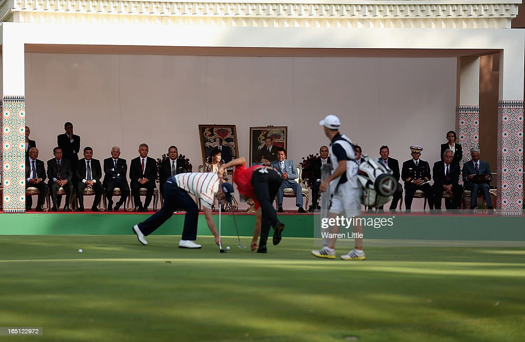 Prince Moulay Rachid looks on from the 18th green during the Trophee du Hassan II Golf at Golf du Palais Royal on March 31, 2013 in Agadir, Morocco.