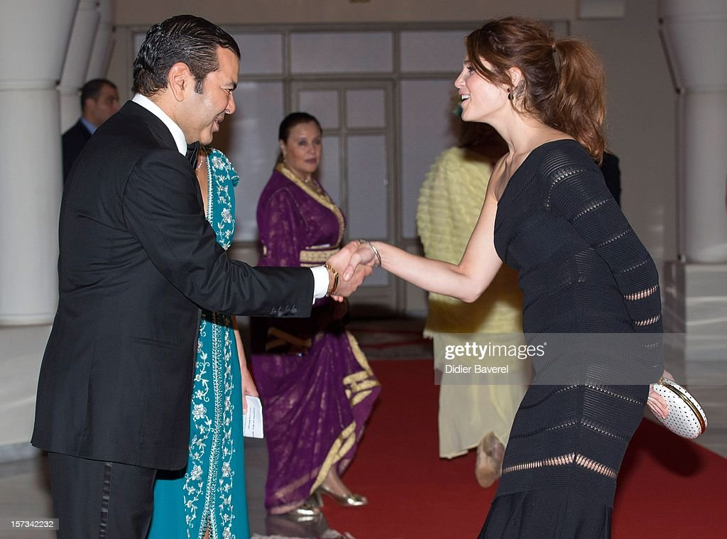 Prince Moulay Rachid of Morocco greets <a gi-track='captionPersonalityLinkClicked' href=/galleries/search?phrase=Gemma+Arterton&family=editorial&specificpeople=4296305 ng-click='$event.stopPropagation()'>Gemma Arterton</a> before the Gala Dinner at the Tribute to Hindi Cinema ceremony at the 12th Marrakech international Film Festival on November 30, 2012 in Marrakech, Morocco.